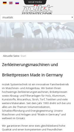 Vorschau der mobilen Webseite www.muetek.eu, Hartmut Müller GmbH