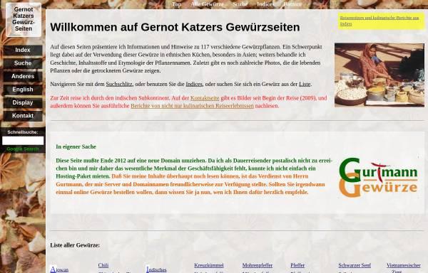 Vorschau von gernot-katzers-spice-pages.com, Gernot Katzer's Gewürzlexikon