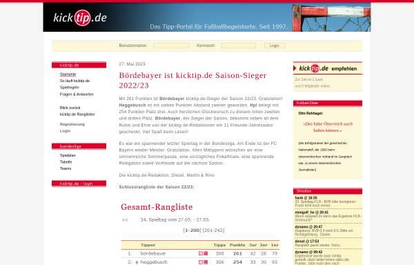 Vorschau von www.kicktip.de, KickTip