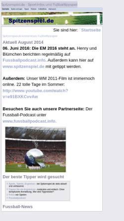 Vorschau der mobilen Webseite www.spitzenspiel.de, Spitzenspiel.de