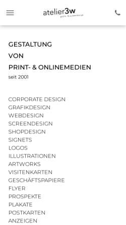 Vorschau der mobilen Webseite www.atelier3w.de, Atelier 3w