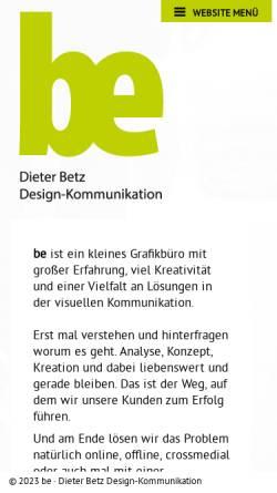 Vorschau der mobilen Webseite be-agentur.de, Dieter Betz - Design-Kommunikation