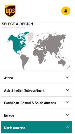 Vorschau der mobilen Webseite www.ups.com, UPS - United Parcel Service