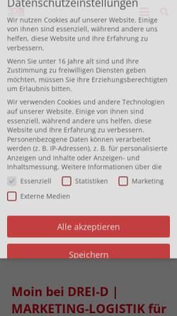 Vorschau der mobilen Webseite www.dreid.de, Drei-D Unternehmensgruppe