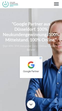 Vorschau der mobilen Webseite www.alexander-zotz.de, AZ Online Marketing - Dipl.-Kfm. (FH) Alexander Zotz