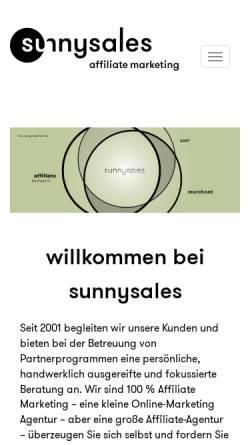 Vorschau der mobilen Webseite www.sunnysales.de, Sunnysales GmbH