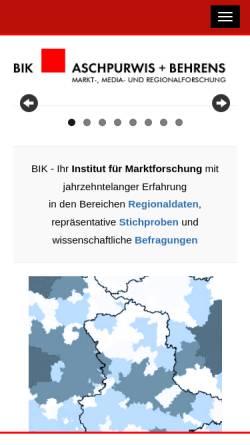 Vorschau der mobilen Webseite www.bik-gmbh.de, BIK Aschpurwis und Behrens GmbH