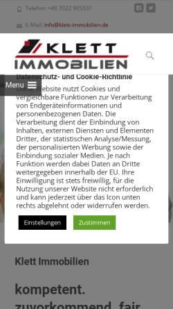 Vorschau der mobilen Webseite www.klett-marketing.de, Marketingagentur Klett