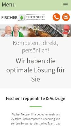 Vorschau der mobilen Webseite www.fischer-treppenlifte.de, Fischer Treppenlifte & Seniorenprodukte GmbH