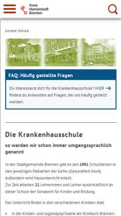 Vorschau der mobilen Webseite www.krankenhausschule.schule.bremen.de, Schule an der Züricher Straße