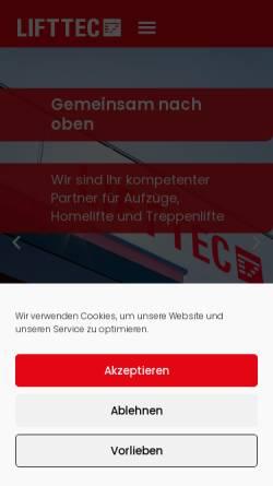 Vorschau der mobilen Webseite www.lifttec.de, LiftTec GmbH