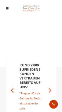 Vorschau der mobilen Webseite www.gebraucht-treppenlifte.de, Gebraucht Treppenlifte 24 GmbH