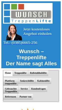 Vorschau der mobilen Webseite wunsch-treppenlifte.de, Wunsch-Treppenlifte, Inh. Dipl.-Ing. Klaus-Dieter Wunsch