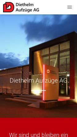 Vorschau der mobilen Webseite www.diethelm-aufzuege.ch, Diethelm Aufzüge AG