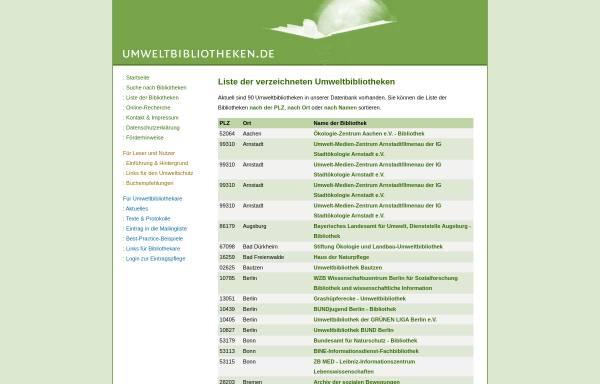 Vorschau von www.umweltbibliotheken.de, Umweltbibliotheken Verzeichnis