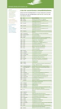 Vorschau der mobilen Webseite www.umweltbibliotheken.de, Umweltbibliotheken Verzeichnis