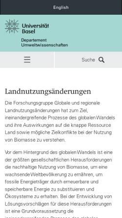 Vorschau der mobilen Webseite humgeo.unibas.ch, Universität Basel: Humangeographisches Institut