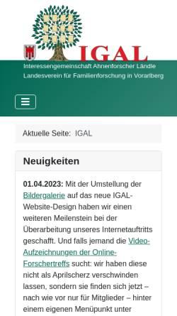 Vorschau der mobilen Webseite www.igal.at, Interessensgemeinschaft Ahnenforscher Lustenau (IGAL)