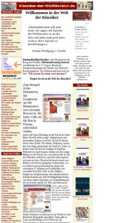 Vorschau der mobilen Webseite www.klassiker-der-weltliteratur.de, Klassiker-der-Weltliteratur.de
