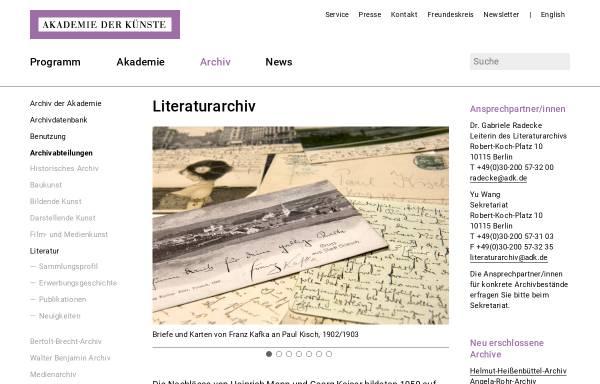 Vorschau von www.adk.de, Literaturarchiv - Akademie der Künste Berlin