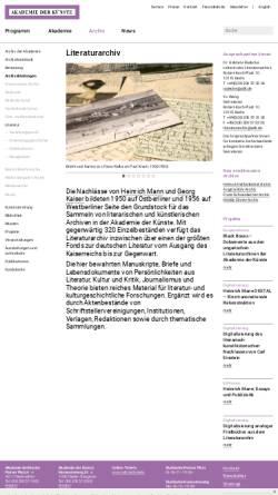 Vorschau der mobilen Webseite www.adk.de, Literaturarchiv - Akademie der Künste Berlin