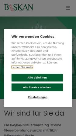 Vorschau der mobilen Webseite www.baskan.de, Baskan Unternehmensberatung