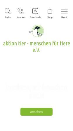 Vorschau der mobilen Webseite www.aktiontier.org, Aktion tier