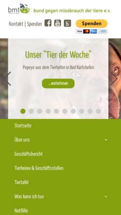 Vorschau der mobilen Webseite bmt-tierschutz.bmtev.de, Bund gegen Mißbrauch der Tiere e. V.