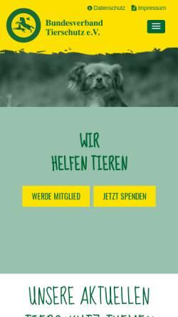 Vorschau der mobilen Webseite www.bv-tierschutz.de, Bundesverband Tierschutz e.V.