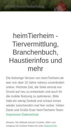 Vorschau der mobilen Webseite www.heimtierheim.de, HeimTierheim