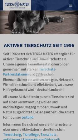 Vorschau der mobilen Webseite www.terra-mater.de, TERRA MATER e.V. Umwelt- und Tierhilfe