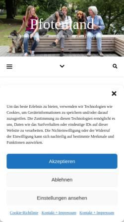 Vorschau der mobilen Webseite www.pfotenland.de, Pfotenland