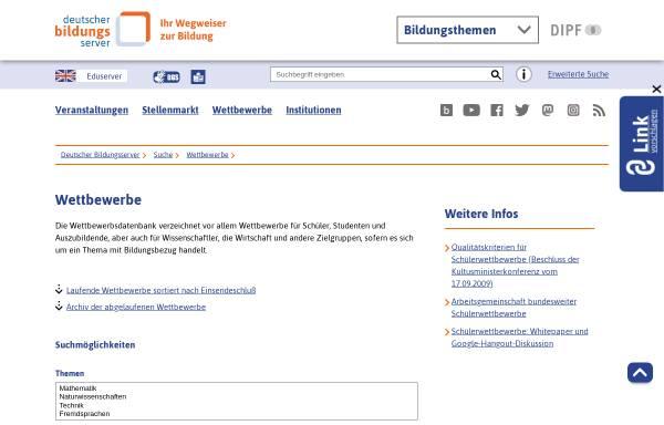 Vorschau von www.bildungsserver.de, Deutscher Bildungs-Server: Wettbewerbe