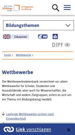 Vorschau der mobilen Webseite www.bildungsserver.de, Deutscher Bildungs-Server: Wettbewerbe