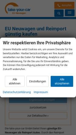 Vorschau der mobilen Webseite www.take-your-car.de, Take-Your-Car GmbH