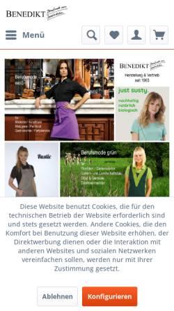 Vorschau der mobilen Webseite www.benedikt-berufskleidung.de, Josef Benedikt, Inhaber Frank Benedikt