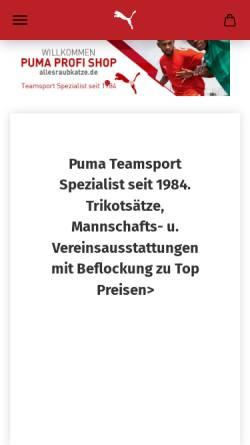 Vorschau der mobilen Webseite www.allesraubkatze.de, Puma Profi Shop