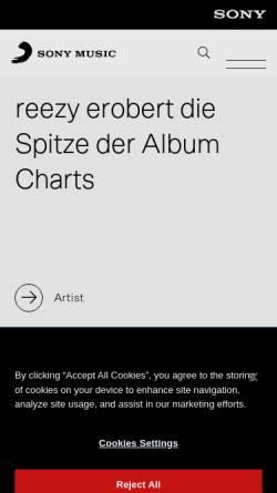 Vorschau der mobilen Webseite www.sonymusic.de, Sony Music Entertainment GmbH