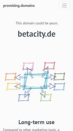 Vorschau der mobilen Webseite www.betacity.de, Betacity - Mesomedium für Kulturtransfer