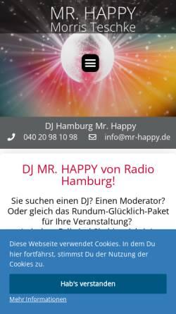 Vorschau der mobilen Webseite www.mr-happy.de, DJ Mister Happy