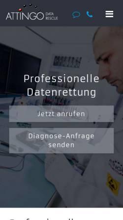 Vorschau der mobilen Webseite www.attingo.com, Attingo Datenrettung GmbH