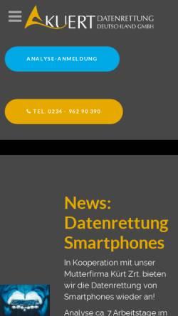 Vorschau der mobilen Webseite www.kuert-datenrettung.de, Kuert Datenrettung Deutschland GmbH