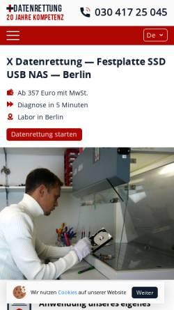 Vorschau der mobilen Webseite www.xdatenrettung.de, X Datenrettung