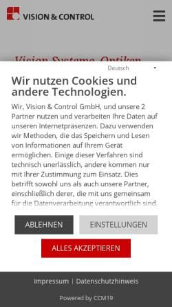Vorschau der mobilen Webseite www.vision-control.com, Vision & Control GmbH