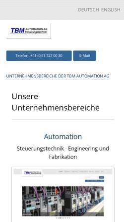 Vorschau der mobilen Webseite www.tbm.ch, TBM Automation AG