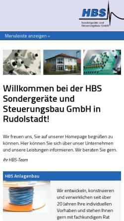 Vorschau der mobilen Webseite www.hbsgmbh.de, HBS Sondergeräte und Steuerungsbau GmbH