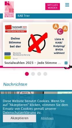 Vorschau der mobilen Webseite www.kab-trier.de, KAB Katholische Arbeitnehmerbewegung Diözesanverband Trier