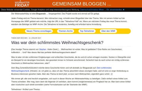 Vorschau von www.webmasterfriday.de, Webmaster-Friday: Webmaster und SEO Themen