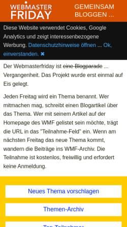 Vorschau der mobilen Webseite www.webmasterfriday.de, Webmaster-Friday: Webmaster und SEO Themen