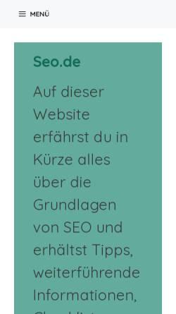 Vorschau der mobilen Webseite seo.de, Seo.de